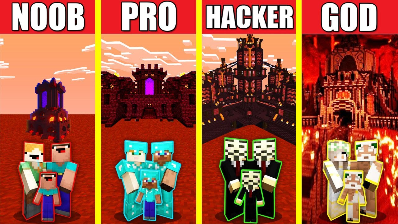 Download Minecraft Battle: FAMILY NETHER CASTLE HOUSE BUILD CHALLENGE -NOOB vs PRO vs HACKER vs GOD Animation