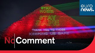 Messages of support for health workers displayed on Egyptian pyramid