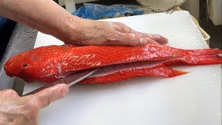 How to Fillet Red Grouper for Sashimi - Seafood in Okinawa Japan
