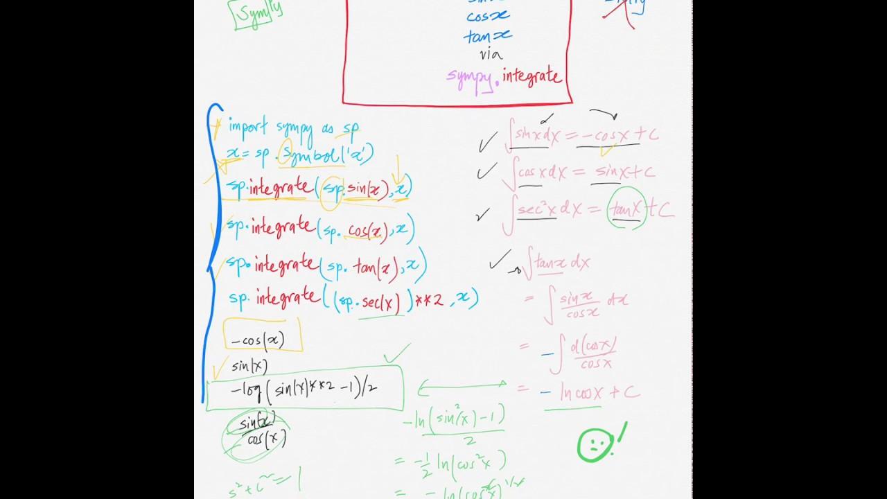 python[sympy]: ∫sinx dx, ∫cosx dx, ∫tanx sec^x dx via sympy integrate