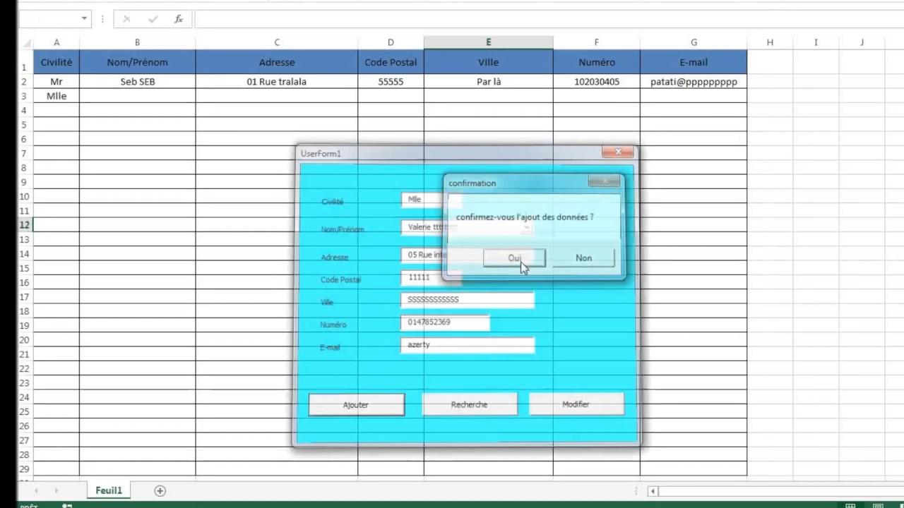 Excel VBA Création de formulaire userform (Ajouter,Rechercher,Modifier) facilement - YouTube