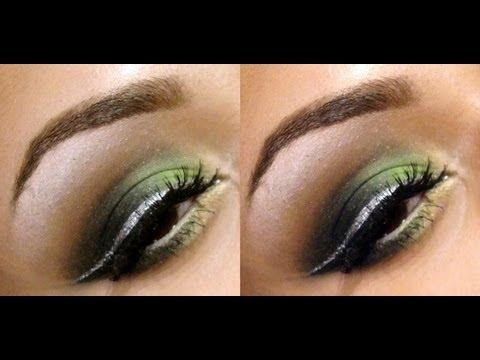 Lime Green Smokey Eyes W Silver Eyeliner Makeup Tutorial