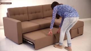 Fabric Sofa Cum Bed– Shop Alfonso Fabric Sofa cum bed (Brown) online @ Wooden Street