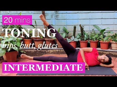 Exercises for Butt, Sides, Hips and Glutes | Intermediate Yoga Workout | Yogalates with Rashmi