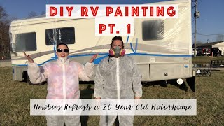 DIY RV Paint.  Painting our 20 year old Motorhome ourselves!  Pt. 1