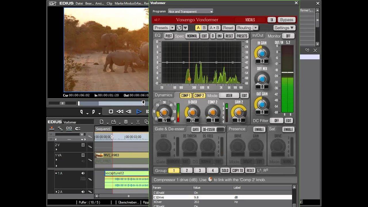 Voxengo VST für EDIUS - Audiofilter für EDIUS und andere Programme