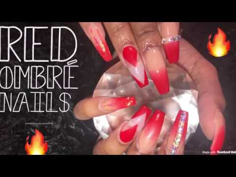Acrylic Nails Tutorial | Red Ombré Nails
