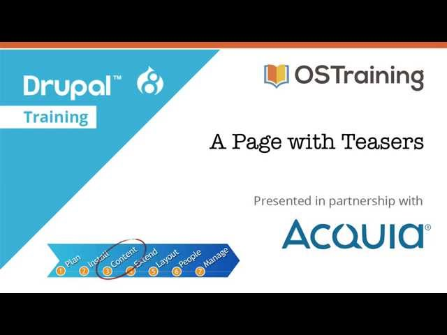 Drupal 8 Beginner, Lesson 38: A Page with Teasers