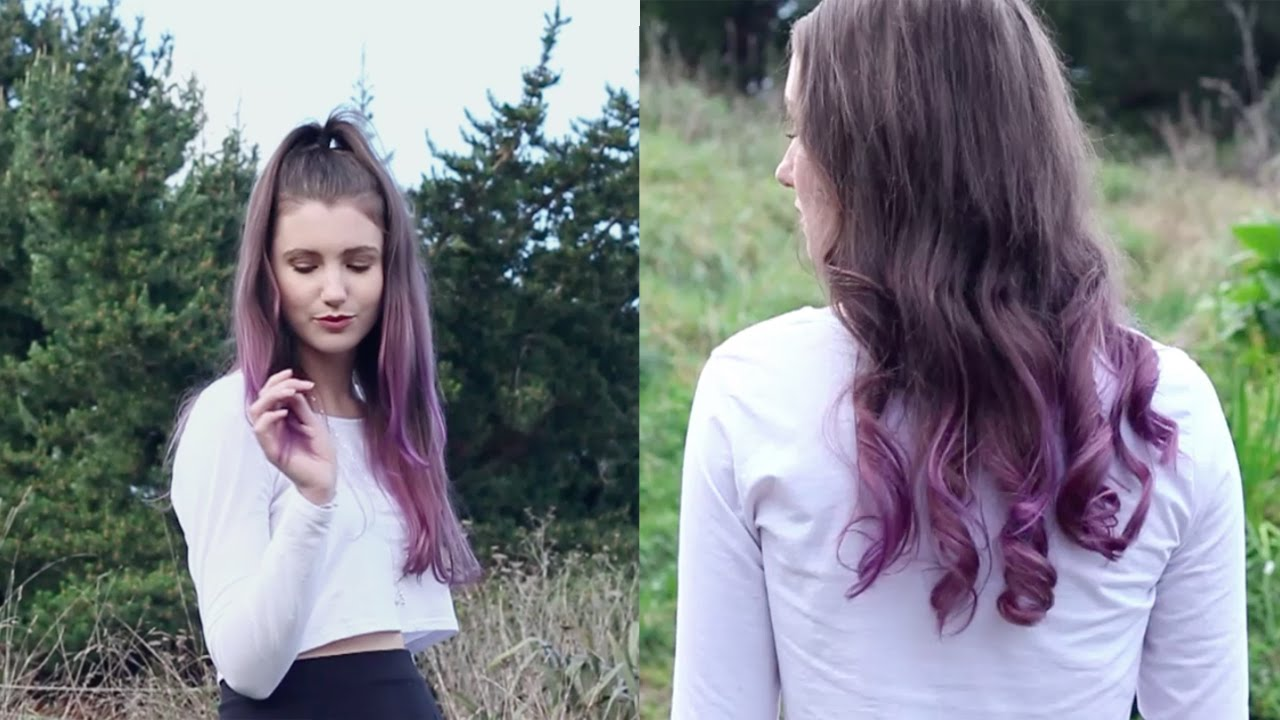 Purple Ombre Hair Diy For Brown Hair Youtube