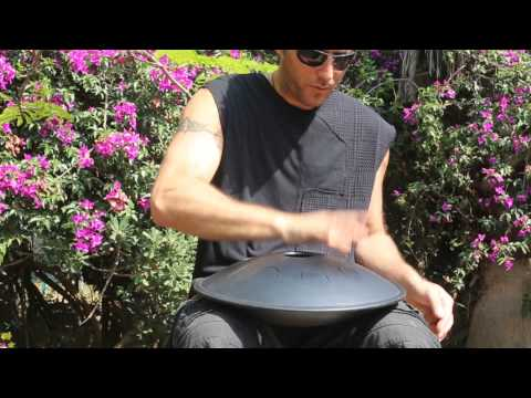 One hand playing on the 1TONE steel tongue drum