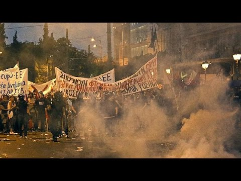 Violence as Greek protesters clash with police