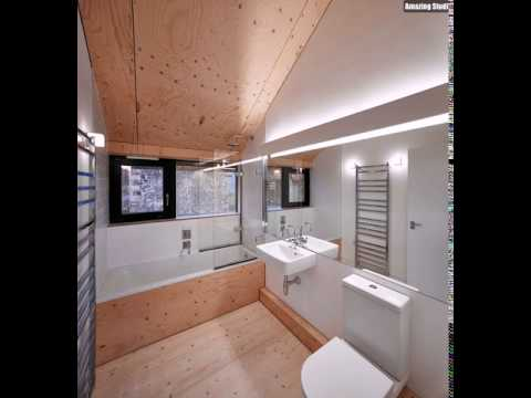 Neutralen Farben und Slanted Holzdecke im Inneren des ...