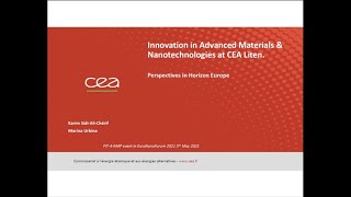 Karim SIDI ALI CHERIF, CEA, Innovation in Advanced Materials and perspectives in HorizonEurope