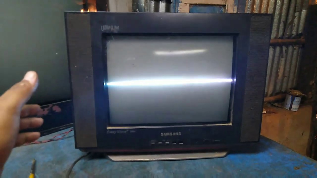 Samsung 14 inch ultra slim CRT TV, vertical line and standby problem, repair,