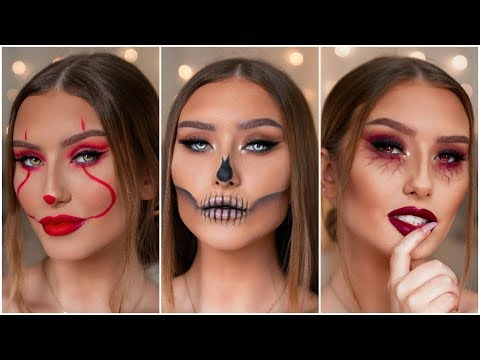 QUICK & EASY LAST MINUTE HALLOWEEN MAKEUP LOOKS - PENNYWISE, SKULL & MORE | Hannah Renée