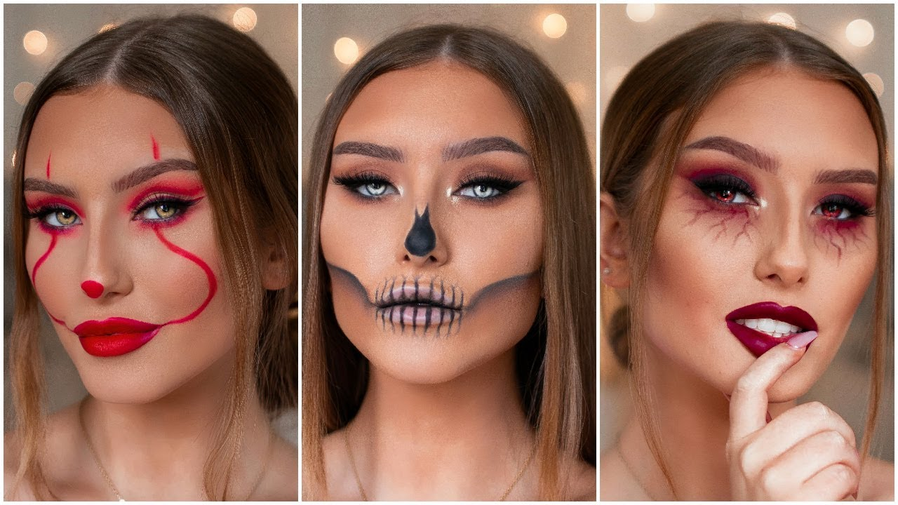 QUICK \u0026 EASY LAST MINUTE HALLOWEEN MAKEUP LOOKS , PENNYWISE, SKULL \u0026 MORE