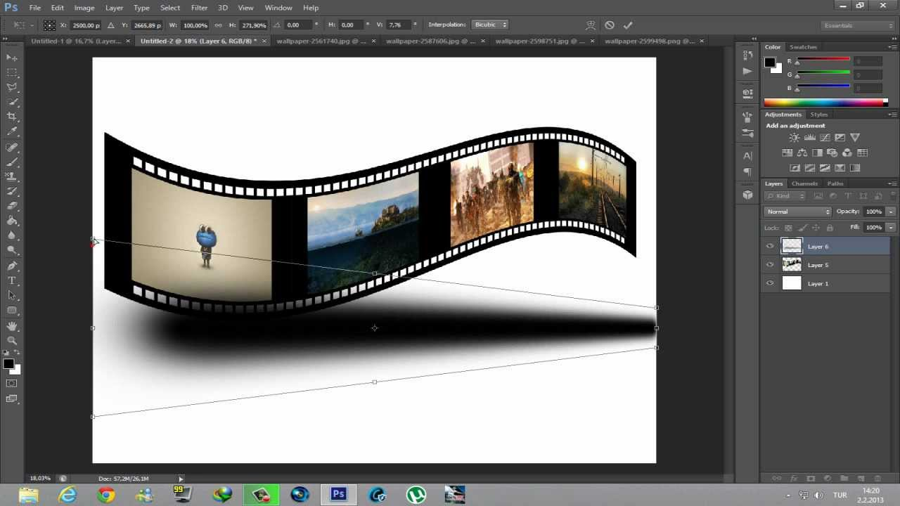 Photoshop ile 3D Film Şeridi Yapmak - YouTube