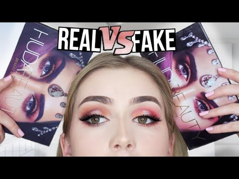 TESTING REAL VS. FAKE Huda Beauty Desert Dusk Palette!!