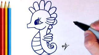 How to Draw cute Seahorse - Step by Step Tutorial