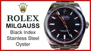 Rolex Milgauss, Black Index UNBOXING & REVIEW - Men's, 40mm, Stainless Steel Oyster, 116400BKO