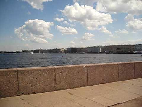 View onto Neva River from St. Petersburg's Strelka on Vasilievsky Island