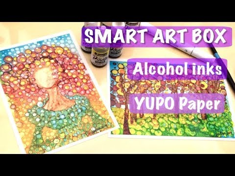 Alcohol Inks and Yupo paper- Smart Art Box- unboxing and speed paint