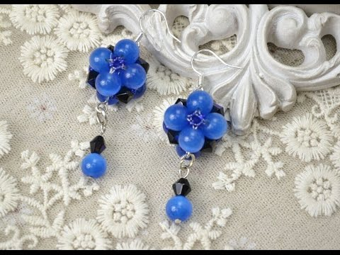 f5b7e3586 PandaHall Jewelry Making Tutorial Video--Bead Earrings with Blue Cat Eye  Glass Beads and Crystals - YouTube