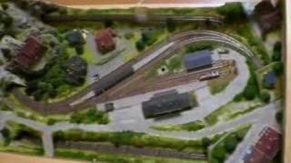 Z Scale Freight Train In Coffee Table Layout