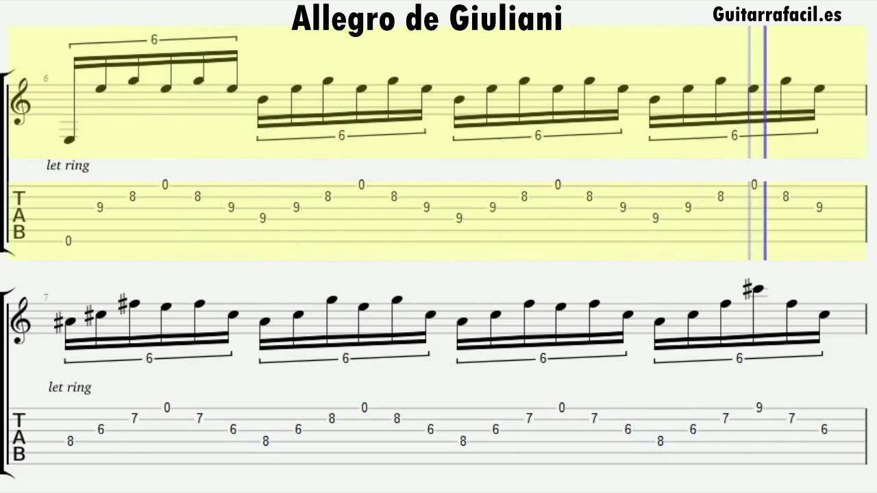 Allegro de giuliani piezas para guitarra cl sica tab y for Partituras de guitarra clasica