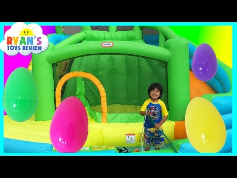 HUGE EGGS Surprise Toys Challenge with Inflatable water slid