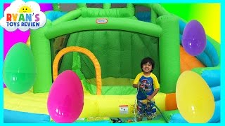 HUGE EGGS SURPRISE TOYS CHALLENGE Inflatable water slide Disney Cars Toys Paw Patrol Spiderman thumbnail
