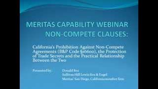 California's Prohibition Against Non-Compete Agreements (B&P Code § 16600)