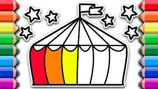How to draw color circus with rainbow colors |  Awesome coloring pages for kids