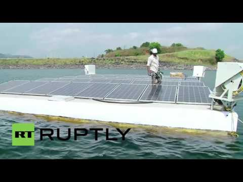 India: Drone footage shows India's largest floating solar power plant