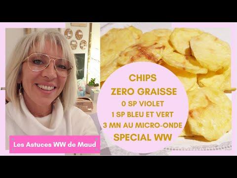 CHIPS ZERO GRAISSE ! SPECIAL WW ! 0 SP VIOLET - 1 SP BLEU ET VERT ! 3 MN AU MICRO-ONDE
