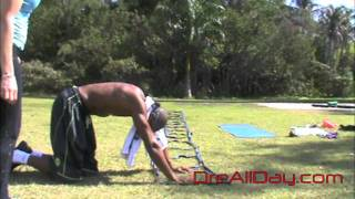Dre Baldwin: Speed Ladder Plank Handwalk w/ Running Knees Combo Drill Upper Body Strength