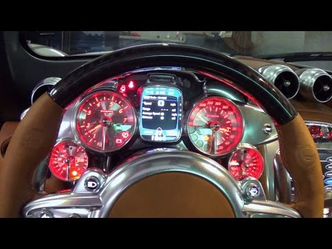 Pagani Huayra Start up and Drive Supercar at Lamborghini Miami top speed 217 miles per hour V12  AMG