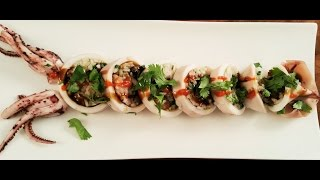 Steamed Squid Stuffed With Sticky Rice And Herbs