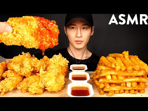 ASMR HOT HONEY CHICKEN TENDERS & CAJUN FRIES MUKBANG (No Talking) EATING SOUNDS | Zach Choi ASMR