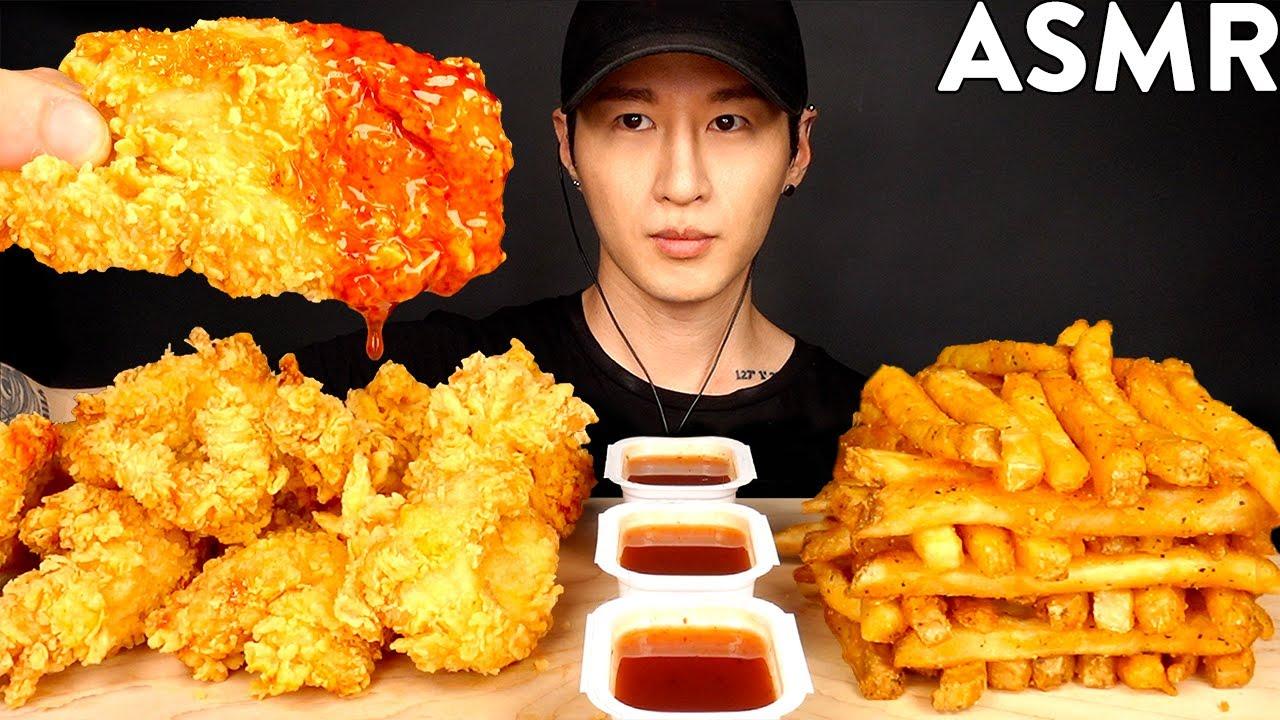 ASMR HOT HONEY CHICKEN TENDERS & CAJUN FRIES MUKBANG (No Talking) EATING SOUNDS | Zach Choi ASMR