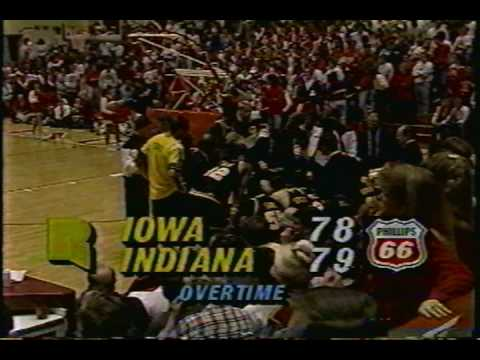 1991 Iowa basketball - James Moses tip-in to beat Indiana