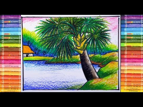 Natural scenery painting with oil pastel colour for beginners step by step/ ever art