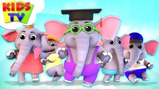 Five Little Elephants | Junior Squad Cartoons | Songs for Babies & Kids Rhymes - Kids TV