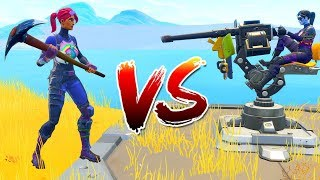 *NEW* Mounted TURRET vs PICKAXE Challenge in Fortnite