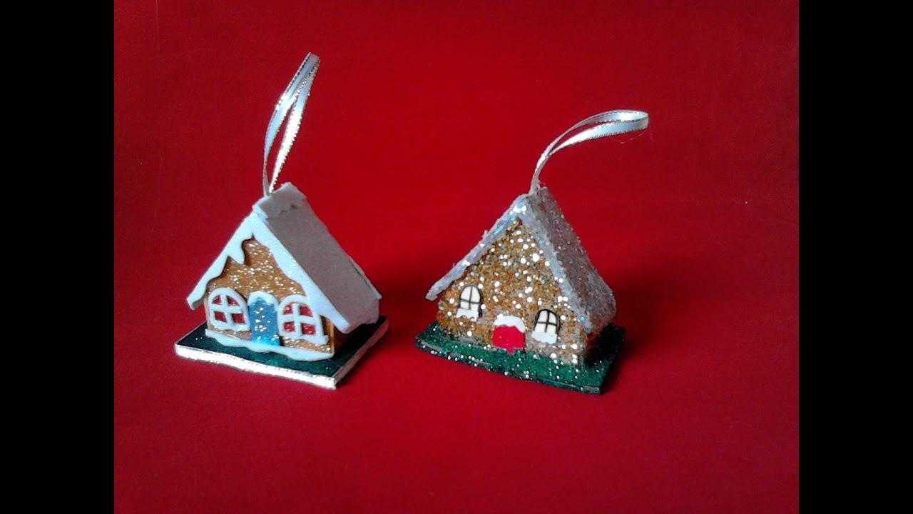 Adorno navide o hecho con carton o fomy casitas youtube for Adornos de navidad con carton