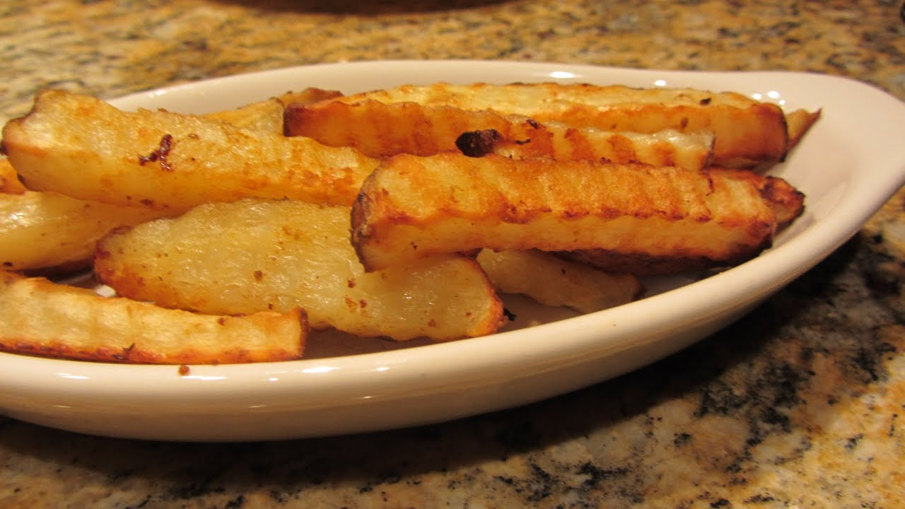 ... BEST Baked Crispy Oven Fried Garlic Seasoned French Fries - YouTube