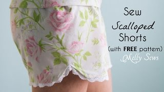 Sew Scalloped Pajama Shorts