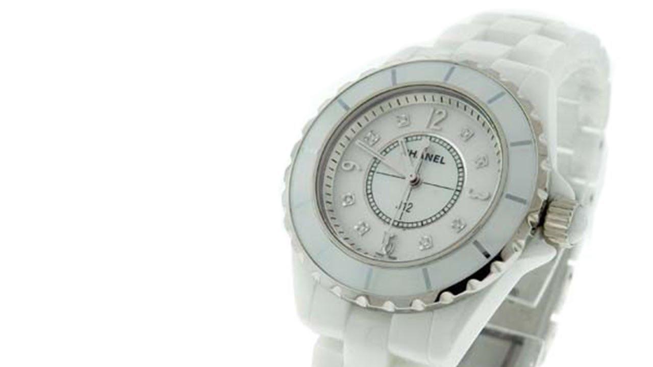 00df8202367a7 Chanel White Ceramic   Stainless Steel Quartz Diamond Watch - YouTube