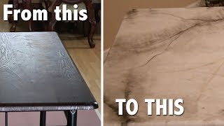 Wood Table Turned into MARBLE using epoxy resin ???
