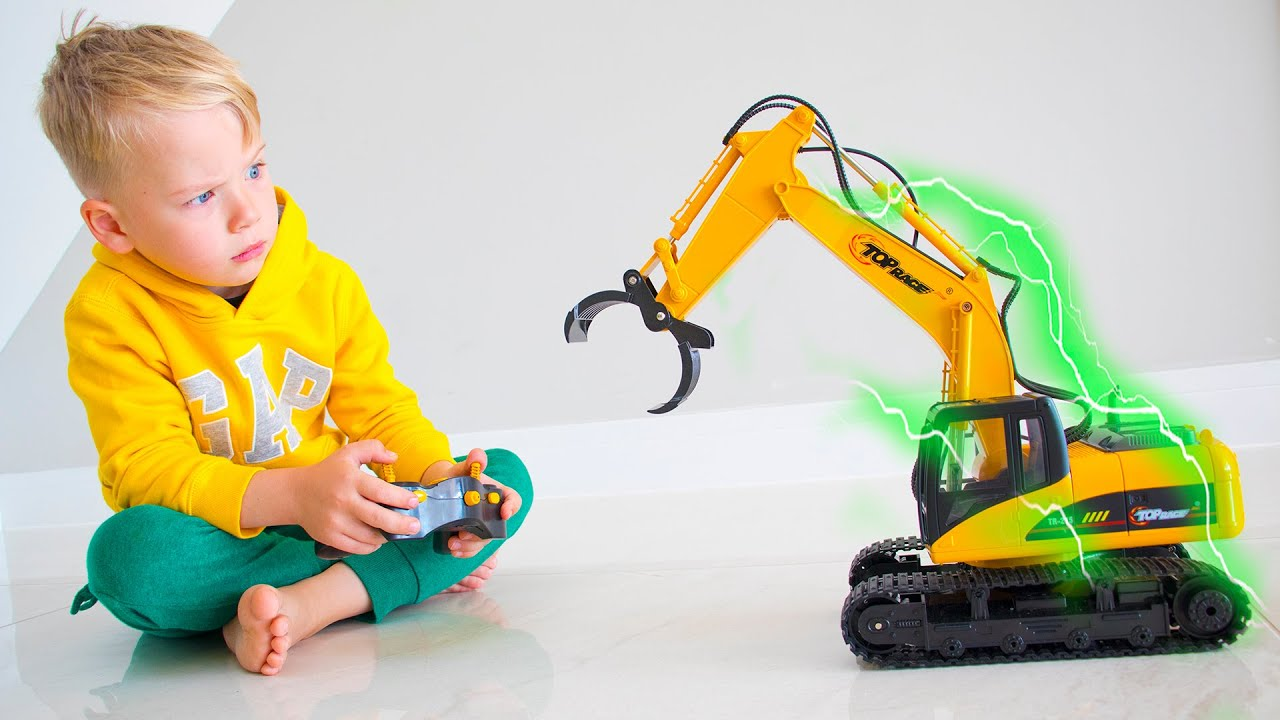 Magic Excavator toy and Excavator playground for kids - Gaby and Alex
